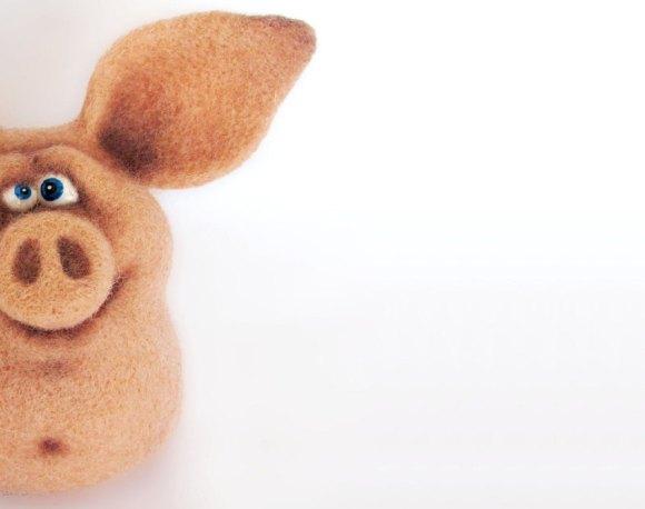 Big the Pig - An Art Toy Wool Pleasure by VladaHom on etsy.com