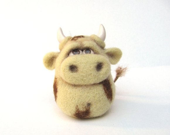 Cute Bull - An Art Toy Wool Pleasure by VladaHom on etsy.com